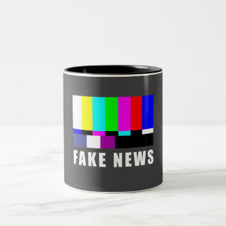Fake news. Media, politics, television Two-Tone Coffee Mug