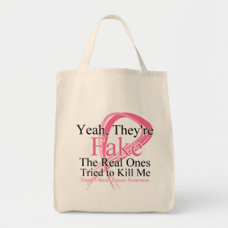 Fake - Real Ones Tried to Kill Me - Breast Cancer Grocery Tote Bag