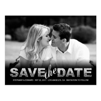 Fake Silver Glitter Save the Date Photo Postcard
