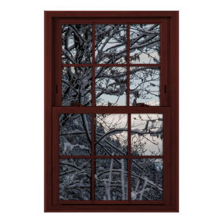 Fake Window - Illusion - Winter Woods View 1 of 2 Poster
