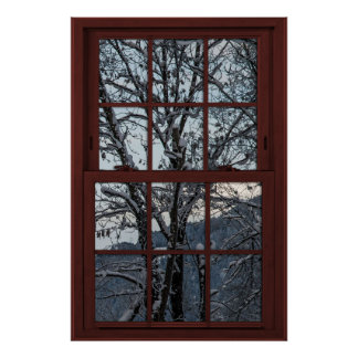 Fake Window - Illusion - Winter Woods View 2 of 2 Poster