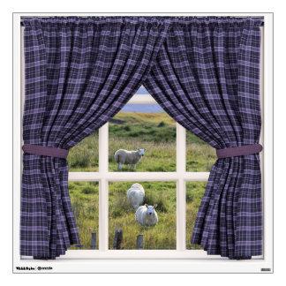 Fake Window Illusion with Sheep and Grassland Wall Sticker