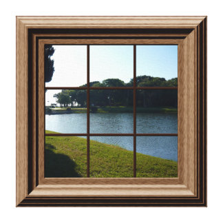 Fake Window View Lake Landscape Canvas Wall Art