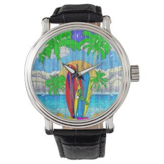 Fake Wood Grain Coastal Surf Art Wrist Watch