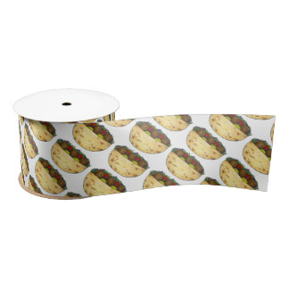 Falafel Pita Sandwich Food Foodie Print Pattern Satin Ribbon