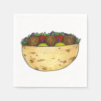 Falafel Pita Sandwich Mediterranean Foodie Napkins Paper Napkins