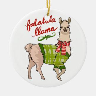 Falalala Llama Round Ceramic Ornament