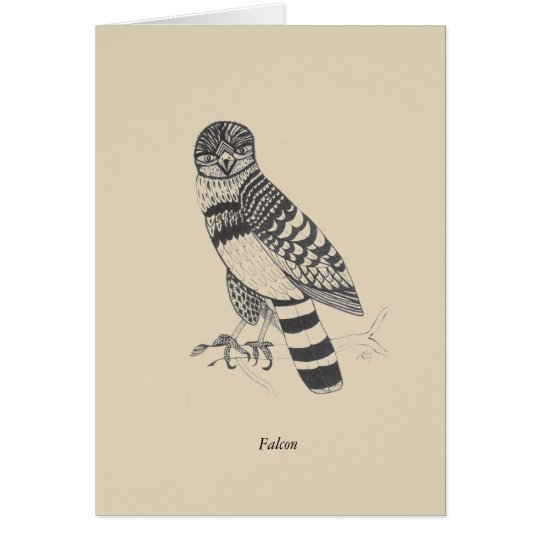 Falcon Black and White Greeting Card