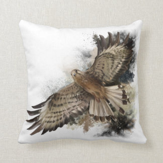 Falcon in flight throw pillow