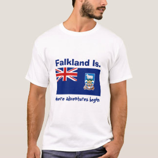 Falkland Islands Flag + Map + Text T-Shirt
