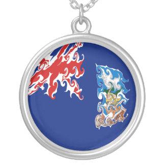 Falkland Islands Gnarly Flag Round Pendant Necklace