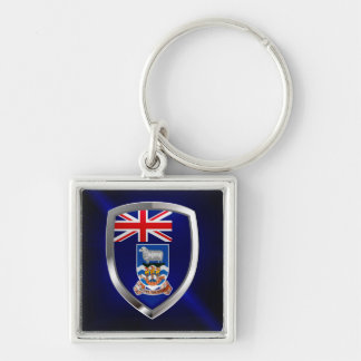 Falkland Islands Mettalic Emblem Silver-Colored Square Keychain