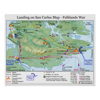 Falkland War Landing in San Carlos Map Poster