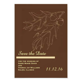 "Fall Acorn Wedding Save the Date 5"" X 7"" Invitation Card"