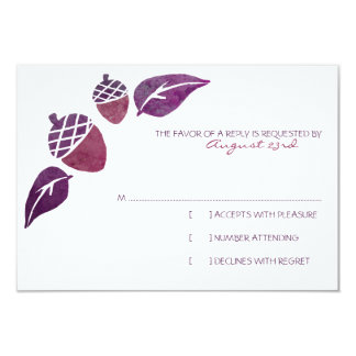 Fall Acorns and Leaves Wedding RSVP Card