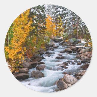 Fall along Bishop creek, California Classic Round Sticker