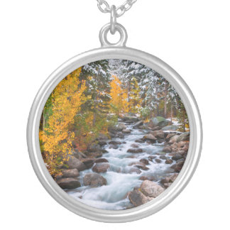 Fall along Bishop creek, California Silver Plated Necklace