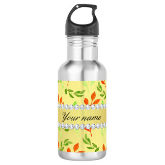 Fall and Green Leaves Faux Gold Foil Bling Diamond 532 Ml Water Bottle