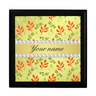 Fall and Green Leaves Faux Gold Foil Bling Diamond Gift Box