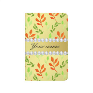 Fall and Green Leaves Faux Gold Foil Bling Diamond Journal