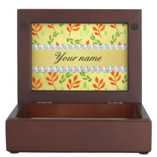 Fall and Green Leaves Faux Gold Foil Bling Diamond Keepsake Box