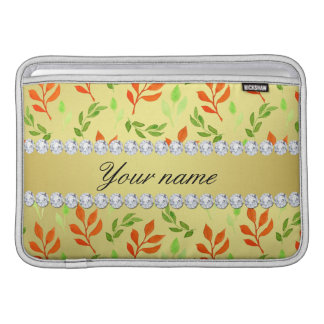 Fall and Green Leaves Faux Gold Foil Bling Diamond MacBook Sleeve