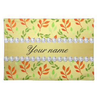 Fall and Green Leaves Faux Gold Foil Bling Diamond Placemat