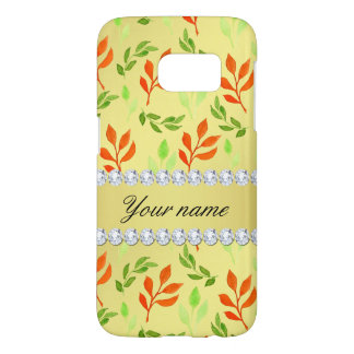 Fall and Green Leaves Faux Gold Foil Bling Diamond Samsung Galaxy S7 Case