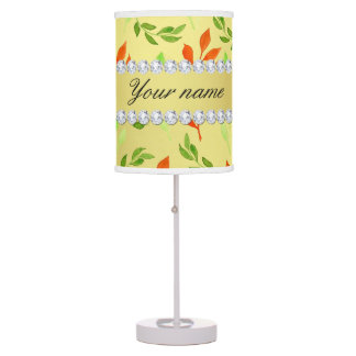 Fall and Green Leaves Faux Gold Foil Bling Diamond Table Lamp