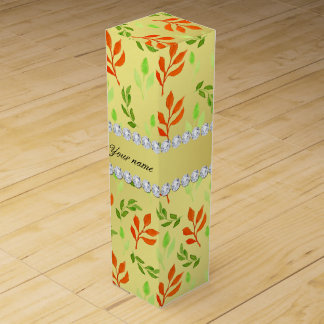 Fall and Green Leaves Faux Gold Foil Bling Diamond Wine Box