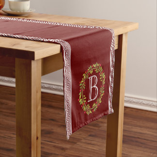 Fall and Holidays Greek Key Monogram In Wreath Short Table Runner