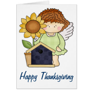 Fall Angel with Sunflower Happy Thanksgiving Card