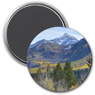 Fall At Cascade Peak And Sundance From Alpine Loop 3 Inch Round Magnet