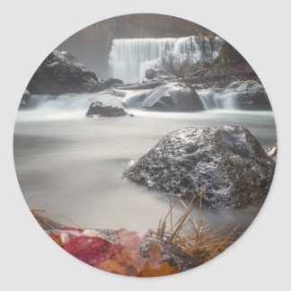 Fall at Middle falls Classic Round Sticker