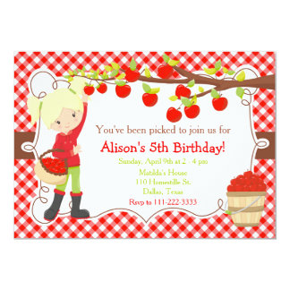 Fall Autumn Apple Picking Blonde Birthday Card
