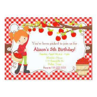 Fall Autumn Apple Picking Red Hair Birthday Card