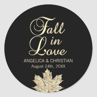 Fall Autumn Black Gold FALL IN LOVE Wedding Classic Round Sticker
