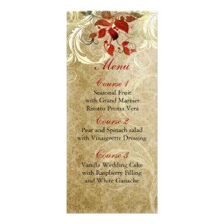 fall autumn brown leaves  wedding menu rack cards