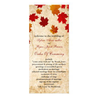 fall autumn brown leaves wedding program personalized rack card