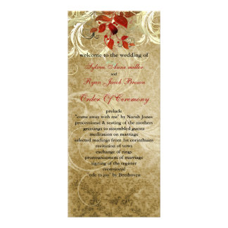 fall autumn brown leaves  wedding program rack card template