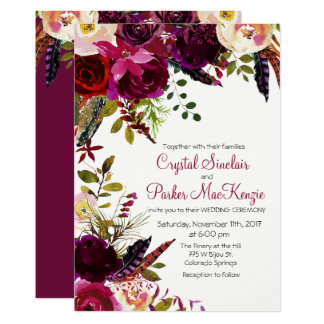 Fall Autumn Burgundy Floral Wedding Invitation