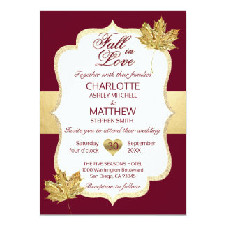 Fall Autumn Burgundy Gold FALL IN LOVE Wedding Card