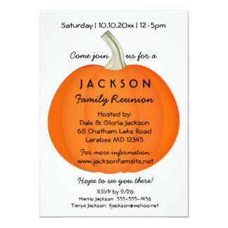 "Fall Autumn Family Reunion or Party Pumpkin 4.5"" X 6.25"" Invitation Card"