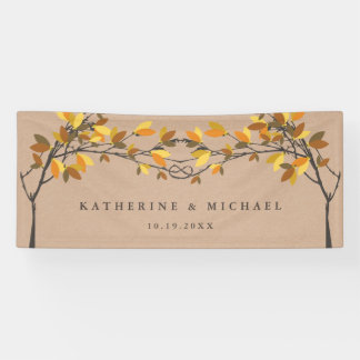 Fall Autumn Gold Knotted Love Trees Wedding Banner