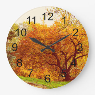 Fall Autumn Landscape Photo of Central Park Large Clock
