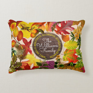 Fall Autumn Leaves Collage Monogram Vintage Wood Accent Pillow