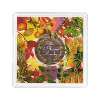 Fall Autumn Leaves Collage Monogram Vintage Wood Acrylic Tray