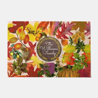 Fall Autumn Leaves Collage Monogram Vintage Wood Doormat
