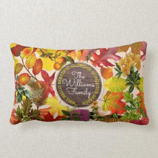 Fall Autumn Leaves Collage Monogram Vintage Wood Lumbar Pillow