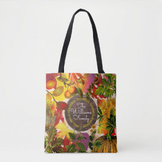 Fall Autumn Leaves Collage Monogram Vintage Wood Tote Bag